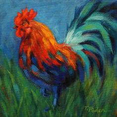 Ladies' Man, Colorful Rooster Painting, painting by artist Theresa Paden