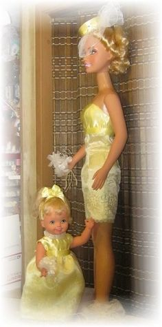 "COMBO MY SIZE BARBIE 38"" tall & 16"" CUDDLY SOFT KELLY LEMON YELLOW DRESS WITH HAT #MAGICMEMORIESDOLLFASHIONSCO"