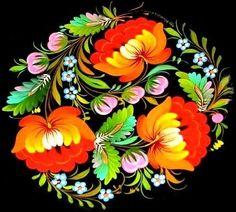 Petrykivka, Ukraine [per previous pinner] Russian Painting, Russian Art, Art Floral, Polish Folk Art, Ukrainian Art, Pintura Country, Egg Art, Arte Popular, Naive Art