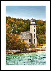 Grand Island Lighthouse No.1442 Framed Print by Randall Nyhof