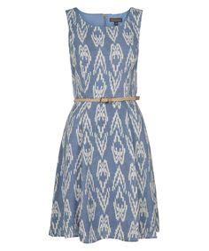 Luxology Ikat Print Dress, Light Blue/Ivory