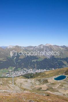View From Mt. Jakobshorn Down To Davos & Lake Davos In Graubuenden In Switzerland In Summer Davos, My Images, Switzerland, Hiking, Stock Photos, Vacation, Mountains, Landscape, Water
