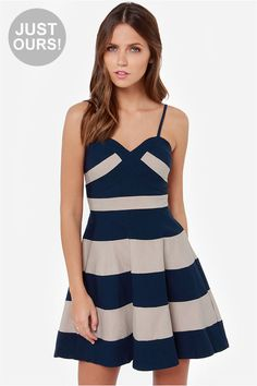 LULUS+Exclusive+Band+and+Deliver+Beige+and+Navy+Blue+Dress+at+LuLus.com!