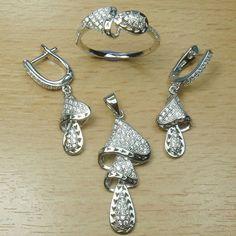 Micro Setting White CZ 925 Sterling Silver Fancy Shape Dangle Full Jewelry Set