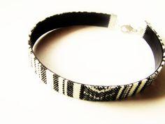 Men's Bracelet, Flat Tribal/Ethnic Fabric Cord, Vegan Nappa Leather Backing, Black & White, Cotton Cord, Eco-Friendly, Vegan, Men's Gifts by TerriJeansAdornments on Etsy
