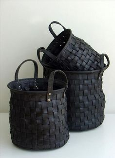 Sturdy Woven Baskets and Totes made from Old Tires