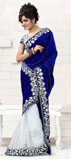 Blue and White Party Wear Indian Sarees Designs