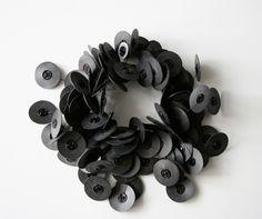 Camilla Prasch Bracelet: Manchette 1/10, 2014 Black died snap fasteners, silicone discs, nylon thread Ø 15 X 11 cm From series: Limited Edition