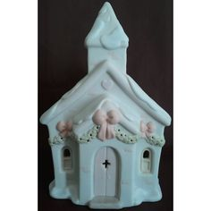 Enesco's Precious Moments Sugar Town Chapel Nightlight Signed 1992 G-Clef 529621 NIB || Available for sale via the pin's link. To see our complete collection of Precious Moments available, check out our store under the Collectibles > Sugar Town category at http://www.purpleirisplaza.com/collections/1206765-sugar-town