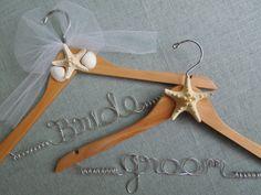 Bride and Groom Beach Wedding Hangers. Bridal Shower Gift. Destination Wedding.