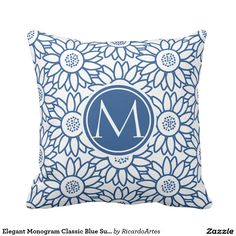 Shop Elegant Monogram Classic Blue Sunflower Throw Pillow created by RicardoArtes. Blue Birthday Parties, Elegant Birthday Party, Mothers Day Decor, Mothers Day Crafts For Kids, Photo Pillows, Wedding Pillows, Sunflower Pattern, Chevron Patterns, Bleu Turquoise