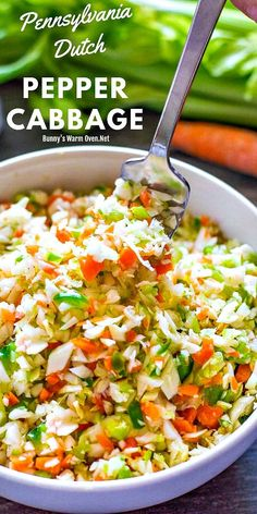Pepper Cabbage is a side dish much like cole slaw only this delicious side dish has a sweet and sour dressing we Pennsylvanians love. It's a wonderful fresh tasting alternative to a mayonnaise based coleslaw or a great alternative for… Continue Reading → Best Salad Recipes, Slaw Recipes, Cabbage Recipes, Vegetable Recipes, Vegetarian Recipes, Chef Recipes, Chicken Recipes, Dutch Recipes, Recipe Chicken