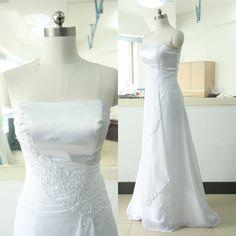 White Strapless Chiffon bridesmaid dresses A satin wedding dress line stock cheap beach bride dresses wedding A-line