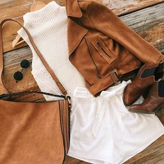 Sude jacket   Cream knit   White shorts   Basics   WWW.MURABOUTIQUE.COM.AU #murabuoutique Summer Outfits, Casual Outfits, Cute Outfits, Fashion Outfits, Work Outfits, Fashion Clothes, Boutique Clothing, Mura Boutique, Complete Outfits