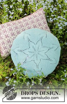 Andromeda Pillow - Knitted round pillow with lace pattern in DROPS Alpaca. Fits a pillow 40 cm in diameter. Drops Design, Knitting Designs, Knitting Patterns Free, Free Knitting, Crochet Pillow, Knit Crochet, Crochet Hats, Lace Patterns, Crochet Patterns