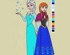 embroidery Elsa Anna design frozen 5x7 pes hus jef