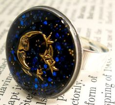 Blue Moon & Stars Glitter Resin Ring  Made with by wiggelhevin