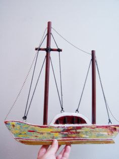 Wooden sailboat double sided sailboat from by ArktosCollectibles, $47.60