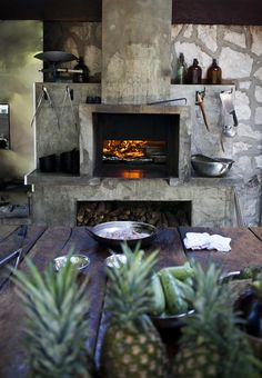 The stone fireplace.