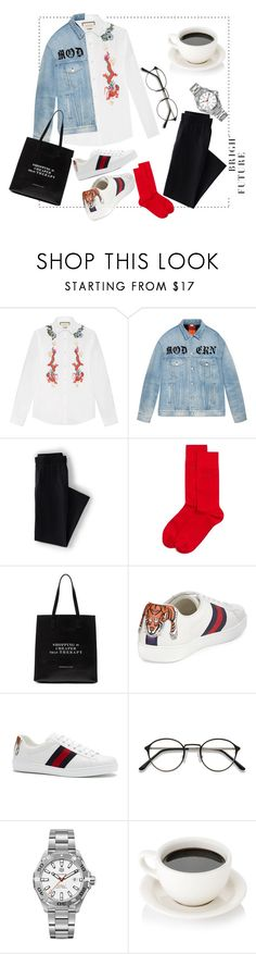 """🐯Gucci🐲men's style☕"" by hakobyann ❤ liked on Polyvore featuring Gucci, Lands' End, BOSS Hugo Boss, TAG Heuer, men's fashion and menswear"