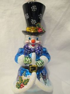 Christopher Radko Frosty Snowcaps Snowman Christmas Ornament
