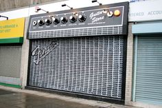 A storefront painted to look like an electric amp.