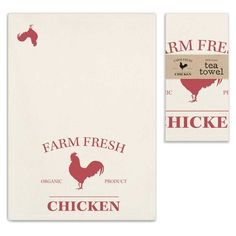 Our Farm Fresh Chicken kitchen towels are the perfect match to our Farm Fresh Chicken galvanized bins! Set of two x cotton tea towels. Features a corne Natural Tea Towels, Red Chicken, Chicken Art, Chicken Kitchen, Red Rooster, Tea Tray, Dish Towels, Country Kitchen, Decoration