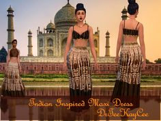 We're midway through fashion week and there has been some fantastic outfits. This outfit drew me in and I decided to make something similar. This is a non default Maxi Dress that can be found in Everyday, Formal and Party Outfits. The swatch is brown. Enjoy!!!! Indian Inspired Maxi