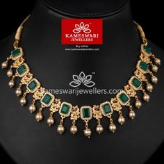 Mayurikas With Onyx Stones Necklace L : 9 inches; Jewelry Design Earrings, Gold Earrings Designs, Emerald Jewelry, Necklace Designs, Gold Jewellery, Gold Designs, Bridal Jewellery, Pearl Jewelry, Diamond Jewelry