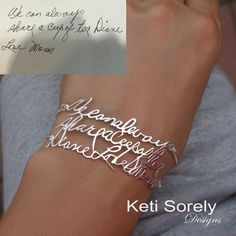 Personalized Jewelry Personalized handwriting message bracelet - make a bracelet from your own handwriting. - Send your handwriting and it will be converted into memorable jewelry Solid Gold Jewelry, I Love Jewelry, Sterling Silver Jewelry, Jewelry Making, Unique Jewelry, Fine Jewelry, Silver Ring, Custom Jewelry, 925 Silver