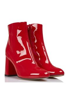 e930635259d Bottines à gros talon en cuir verni Rouge by MELLOW YELLOW Bottines Femmes