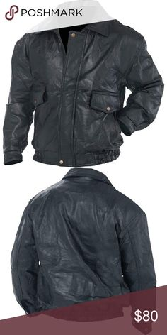 "Roman Rock™ Design Genuine Leather Jacket S-3XL The ""bomber jacket"" design affords style and function in one garment. Features 2 large front snap pockets, an added convenience in keeping up with your car keys or sunglasses, and snap closures at the wrists. Fully lined Napoline™ Jackets & Coats Bomber & Varsity"