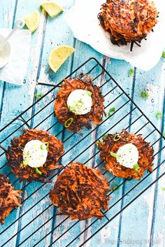 SAVE FOR LATER! These Pan-Fried Green Onion and Sweet Potato Fritters are easy to make and crazy delicious! They are topped with a lemon garlic yogurt sauce and actually healthy for you. Pan Fried Sweet Potatoes, Sweet Potato Fritters, Dinner Entrees, Gluten Free Dinner, Root Vegetables, Sweet Potato Recipes, Healthy Side Dishes, Vegan Cheese, Green Onions