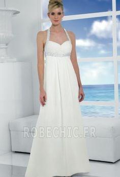 Robe+de+mariée+Perle+Zip+À+la+masse+Licou+Corsage+plissé+Empire