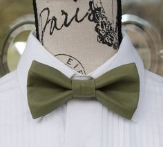 New Brand Q men/'s pre-tied bow tie paisley micro fiber formal wedding sage green