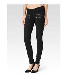 Paige Denim  Black Fog Edgemont Skinny Jeans: The Edgemont Ultra Skinny jean features Paige Denim's innovative, TRANSCEND fiber technology that promises a luxuriously soft feel, comfortable fit and unyielding support. This jean marries clean construction and an edgy, double zipper detailing for a cool, denim silhouette with rebellious spirit. The mid rise and ultra skinny fit make this denim easy to style, and the classic, Black Fog wash gives this denim an attractive versatility.  Pair with…