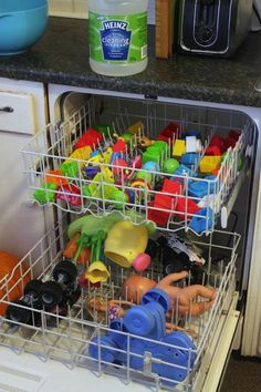 55 Must-Read Cleaning Tips & Tricks - clean all of those nasty toys in the dishwasher!