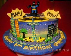 Batman Birthday Cake This is a cake covered with SMBC and Color Flow accents. Spiderman Cookies, Superhero Cookies, Superhero Cake, Batman Birthday Cakes, Batman Party, Happy Birthday Cakes, Birthday Cake Pictures, Cake Cover, Cake Images