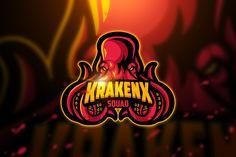 Ad: Krakenx - Mascot & Esport Logo by AQR Studio on Introducing!, Krakenx - Mascot & Esport Logo- Suitable for your personal or squad logo, All elements on this template are editable with Vector Game, Game Logo Design, Esports Logo, Sports Team Logos, Boys Wallpaper, Joker Pics, Logo Sticker, Free Logo, Modern Logo