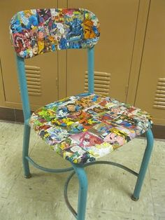 comic book chair for his desk