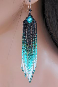 Long Seed Bead Earrings in Shades of Green by CreationsbyWhiteWolf