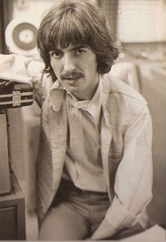 George Harrison in the studio, photographed by Linda McCartney