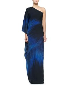 Halston Heritage One shoulder printed ombre gown