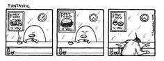 Pena The Unholy - Fantastic (c) Teemu Seuranen  #pena #the #unholy #comic #strip #penguin #funny #fastfood #restaurant #hamburger #waiting