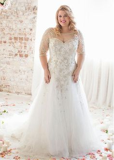 c59b72995ff Buy discount Brilliant Tulle Bateau Neckline Dropped A-line Plus Size  Wedding Dresses With Beaded