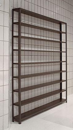 bookcase, steel L profile, black mdf