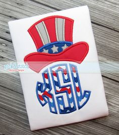 Patriotic Uncle Sam MONOGRAM Topper - 4x4 (2.61 x 2.11), 5x7 (4.52 x 3.64), 6x10 (6.00 x 4.82) & 8x8 (5.06 x 4.07); Font NOT Included;