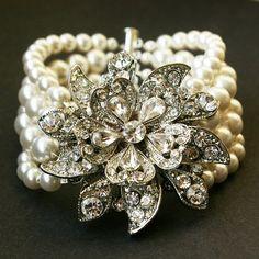 Bling Rhinestone and swarovski white pearls Victorian style bracelet Bridal Cuff, Wedding Bracelet, Daisy Bracelet, Pearl Bridal, Pearl Jewelry, Wedding Jewelry, Vintage Jewelry, Vintage Bracelet, Pearl Earrings