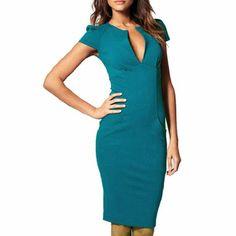 Damen Kleid Knielang Elegante Kleider sexy V-Ausschnitt figurbetontes Kleid Etuikleider damen ol Business Kleid Partykleid 38,49 EUR