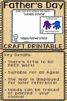 """Father's Day Craft Printable - Simply the Best - """"Hands Down!""""  This Father's Day, invite your students to show their appreciation of their fathers with this adorable and fun craft activity!"""